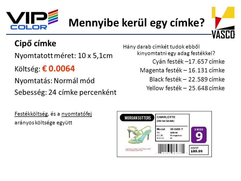 Mennyibe kerül egy címke? Cipő címke Nyomtatott méret: 10 x 5,1cm Költség: € 0.0064 Nyomtatás: Normál mód Sebesség: 24 címke percenként Festékköltség,