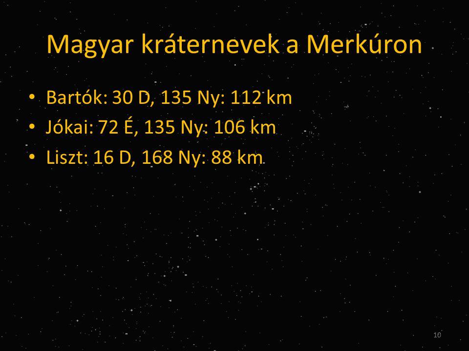 Magyar kráternevek a Merkúron • Bartók: 30 D, 135 Ny: 112 km • Jókai: 72 É, 135 Ny: 106 km • Liszt: 16 D, 168 Ny: 88 km 10