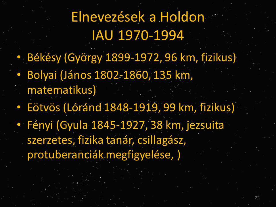 Elnevezések a Holdon IAU 1970-1994 • Békésy (György 1899-1972, 96 km, fizikus) • Bolyai (János 1802-1860, 135 km, matematikus) • Eötvös (Lóránd 1848-1919, 99 km, fizikus) • Fényi (Gyula 1845-1927, 38 km, jezsuita szerzetes, fizika tanár, csillagász, protuberanciák megfigyelése, ) 24