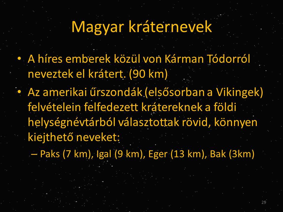 Magyar kráternevek • A híres emberek közül von Kárman Tódorról neveztek el krátert.