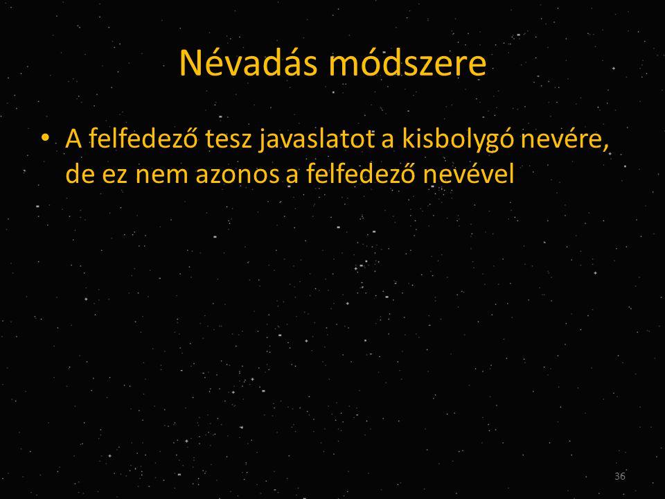 Névadás módszere • A felfedező tesz javaslatot a kisbolygó nevére, de ez nem azonos a felfedező nevével 36