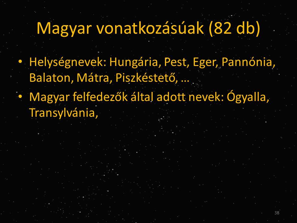 Magyar vonatkozásúak (82 db) • Helységnevek: Hungária, Pest, Eger, Pannónia, Balaton, Mátra, Piszkéstető, … • Magyar felfedezők által adott nevek: Ógyalla, Transylvánia, 38