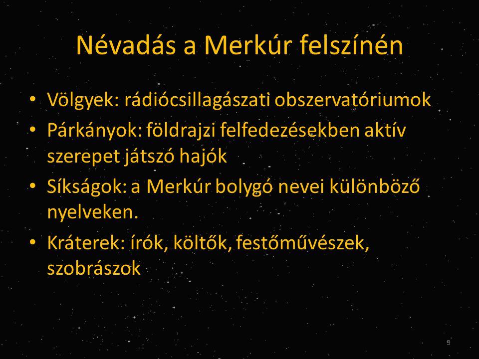 Névadás a Merkúr felszínén • Völgyek: rádiócsillagászati obszervatóriumok • Párkányok: földrajzi felfedezésekben aktív szerepet játszó hajók • Síkságok: a Merkúr bolygó nevei különböző nyelveken.