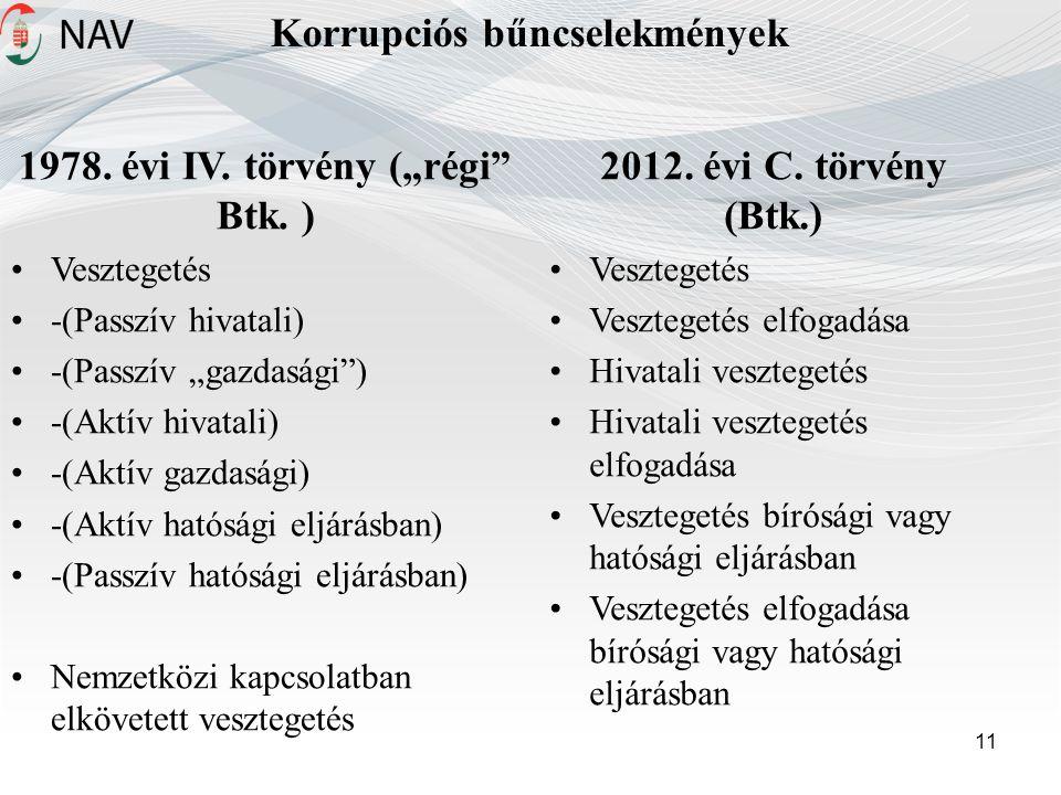 """Korrupciós bűncselekmények 11 1978.évi IV. törvény (""""régi Btk."""