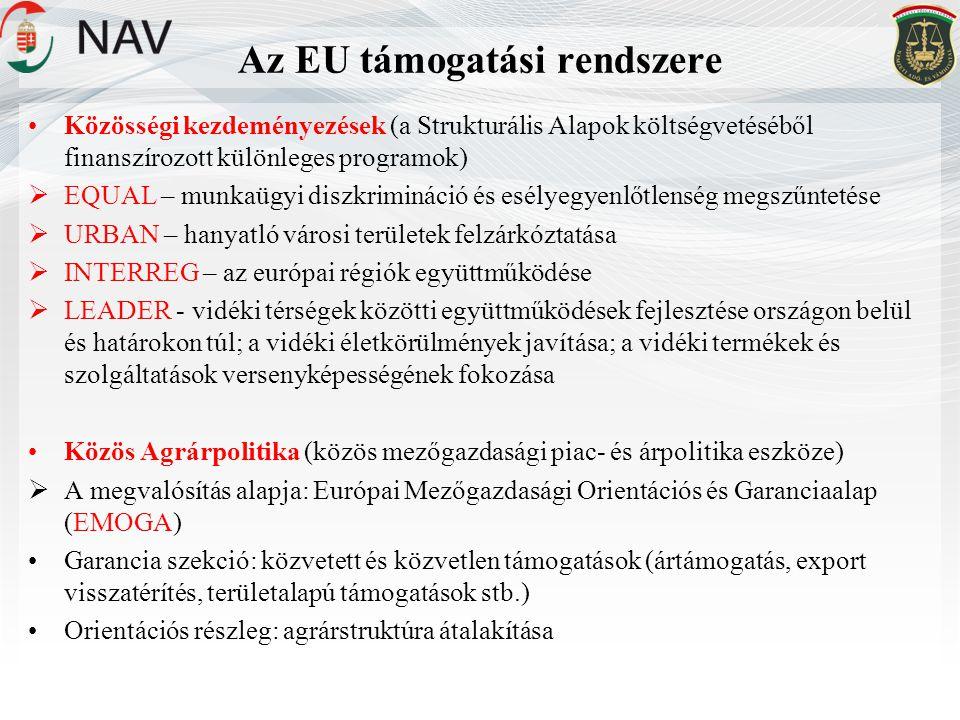 Az EU támogatási rendszere •Közösségi kezdeményezések (a Strukturális Alapok költségvetéséből finanszírozott különleges programok)  EQUAL – munkaügyi diszkrimináció és esélyegyenlőtlenség megszűntetése  URBAN – hanyatló városi területek felzárkóztatása  INTERREG – az európai régiók együttműködése  LEADER - vidéki térségek közötti együttműködések fejlesztése országon belül és határokon túl; a vidéki életkörülmények javítása; a vidéki termékek és szolgáltatások versenyképességének fokozása •Közös Agrárpolitika (közös mezőgazdasági piac- és árpolitika eszköze)  A megvalósítás alapja: Európai Mezőgazdasági Orientációs és Garanciaalap (EMOGA) •Garancia szekció: közvetett és közvetlen támogatások (ártámogatás, export visszatérítés, területalapú támogatások stb.) •Orientációs részleg: agrárstruktúra átalakítása