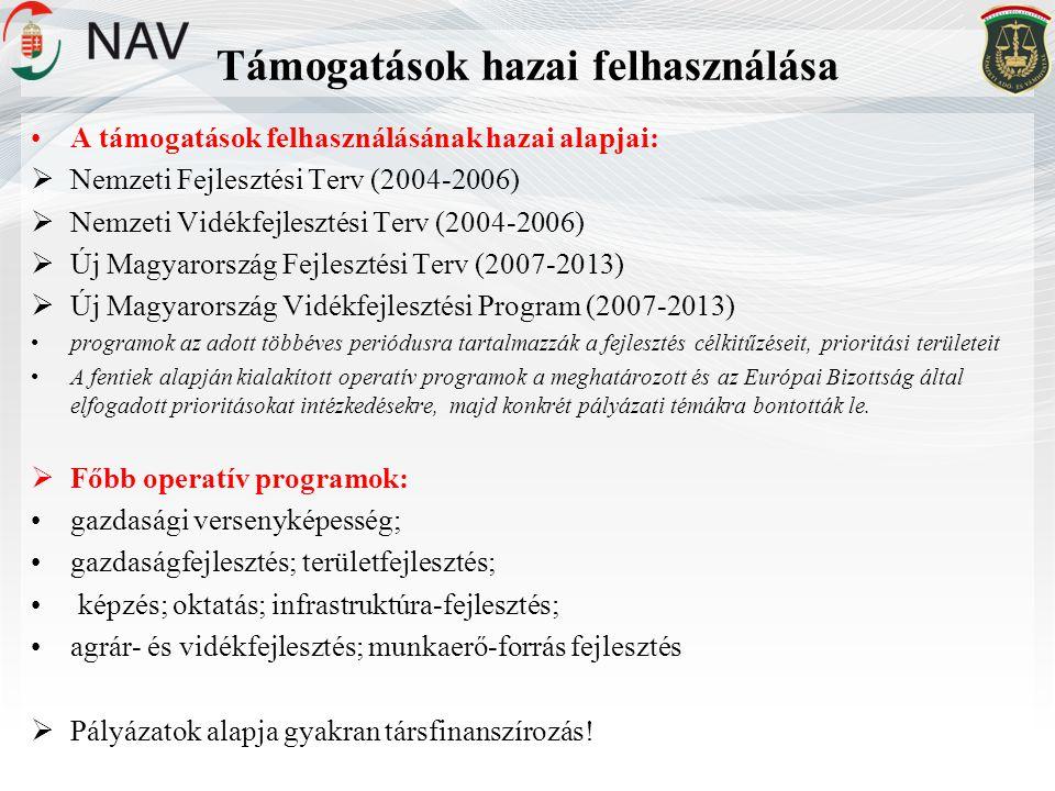Támogatások hazai felhasználása •A támogatások felhasználásának hazai alapjai:  Nemzeti Fejlesztési Terv (2004-2006)  Nemzeti Vidékfejlesztési Terv (2004-2006)  Új Magyarország Fejlesztési Terv (2007-2013)  Új Magyarország Vidékfejlesztési Program (2007-2013) •programok az adott többéves periódusra tartalmazzák a fejlesztés célkitűzéseit, prioritási területeit •A fentiek alapján kialakított operatív programok a meghatározott és az Európai Bizottság által elfogadott prioritásokat intézkedésekre, majd konkrét pályázati témákra bontották le.