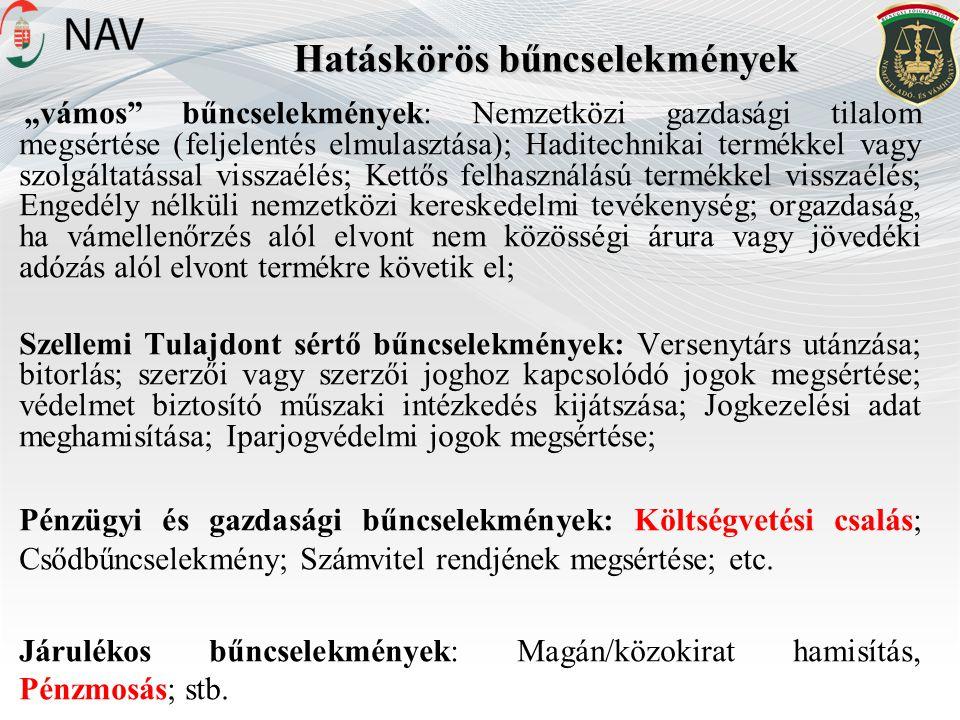 """Hatáskörös bűncselekmények """"vámos bűncselekmények: Nemzetközi gazdasági tilalom megsértése (feljelentés elmulasztása); Haditechnikai termékkel vagy szolgáltatással visszaélés; Kettős felhasználású termékkel visszaélés; Engedély nélküli nemzetközi kereskedelmi tevékenység; orgazdaság, ha vámellenőrzés alól elvont nem közösségi árura vagy jövedéki adózás alól elvont termékre követik el; Szellemi Tulajdont sértő bűncselekmények: Versenytárs utánzása; bitorlás; szerzői vagy szerzői joghoz kapcsolódó jogok megsértése; védelmet biztosító műszaki intézkedés kijátszása; Jogkezelési adat meghamisítása; Iparjogvédelmi jogok megsértése; Pénzügyi és gazdasági bűncselekmények: Költségvetési csalás; Csődbűncselekmény; Számvitel rendjének megsértése; etc."""
