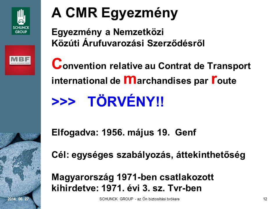  A CMR Egyezmény  Egyezmény a Nemzetközi  Közúti Árufuvarozási Szerződésről  C onvention relative au Contrat de Transport international de m archa