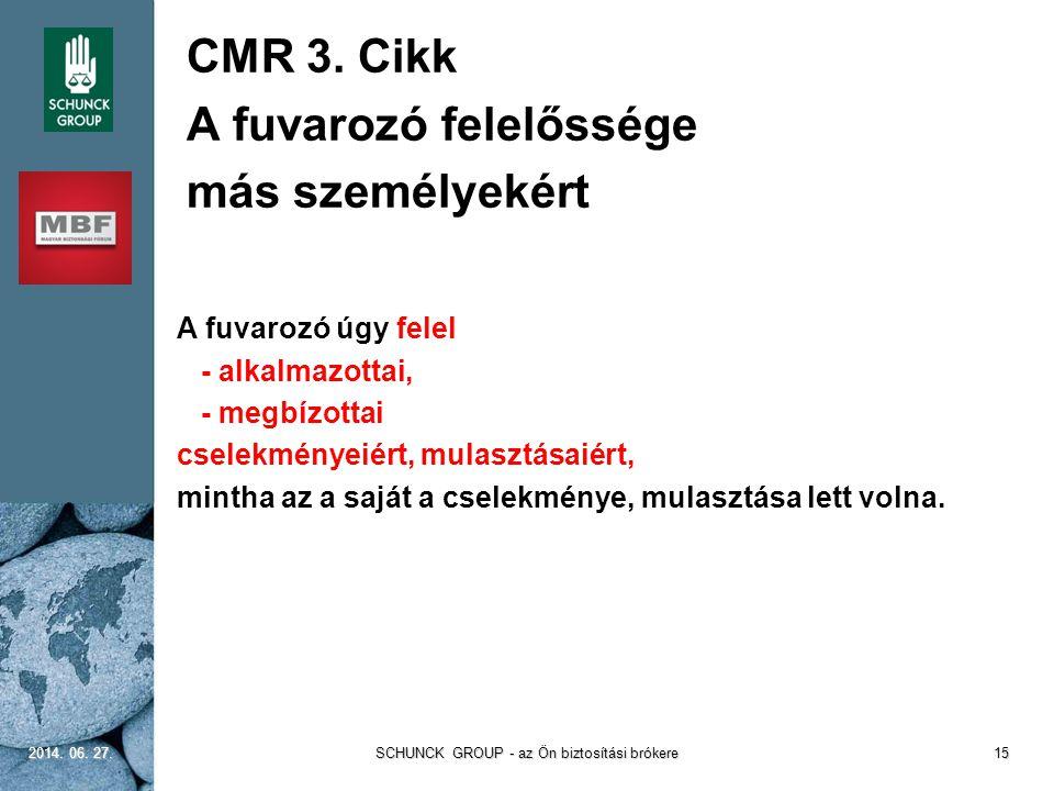 CMR 3. Cikk A fuvarozó felelőssége más személyekért A fuvarozó úgy felel - alkalmazottai, - megbízottai cselekményeiért, mulasztásaiért, mintha az a s