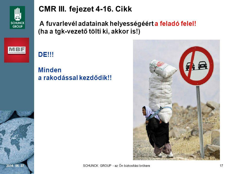 CMR III. fejezet 4-16. Cikk A fuvarlevél adatainak helyességéért a feladó felel! (ha a tgk-vezető tölti ki, akkor is!) DE!!! Minden a rakodással kezdő