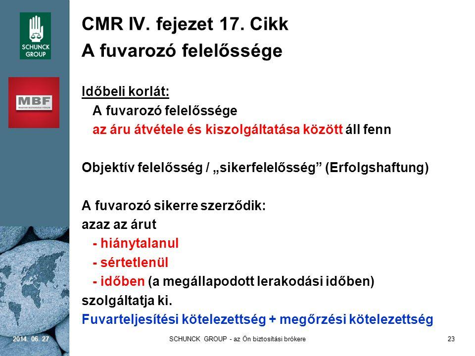 CMR IV. fejezet 17. Cikk A fuvarozó felelőssége Időbeli korlát: A fuvarozó felelőssége az áru átvétele és kiszolgáltatása között áll fenn Objektív fel