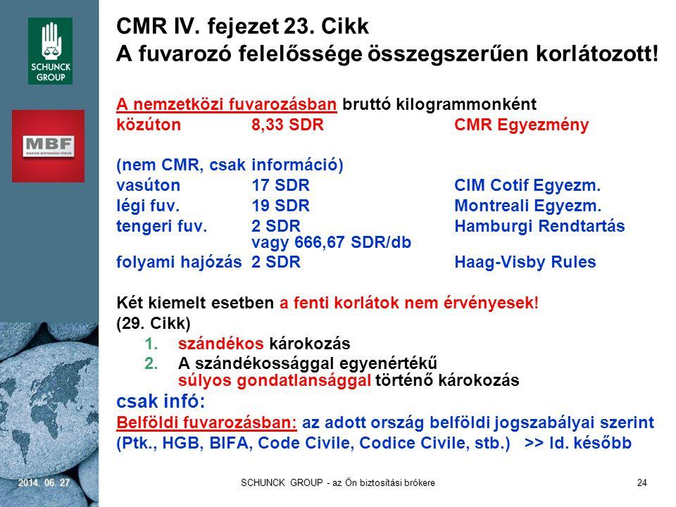 CMR IV. fejezet 23. Cikk A fuvarozó felelőssége összegszerűen korlátozott! A nemzetközi fuvarozásban bruttó kilogrammonként közúton8,33 SDRCMR Egyezmé