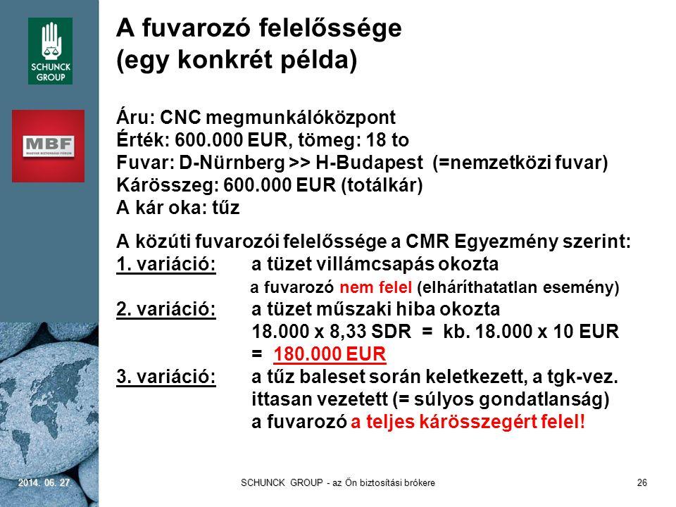 A fuvarozó felelőssége (egy konkrét példa) Áru: CNC megmunkálóközpont Érték: 600.000 EUR, tömeg: 18 to Fuvar: D-Nürnberg >> H-Budapest (=nemzetközi fu