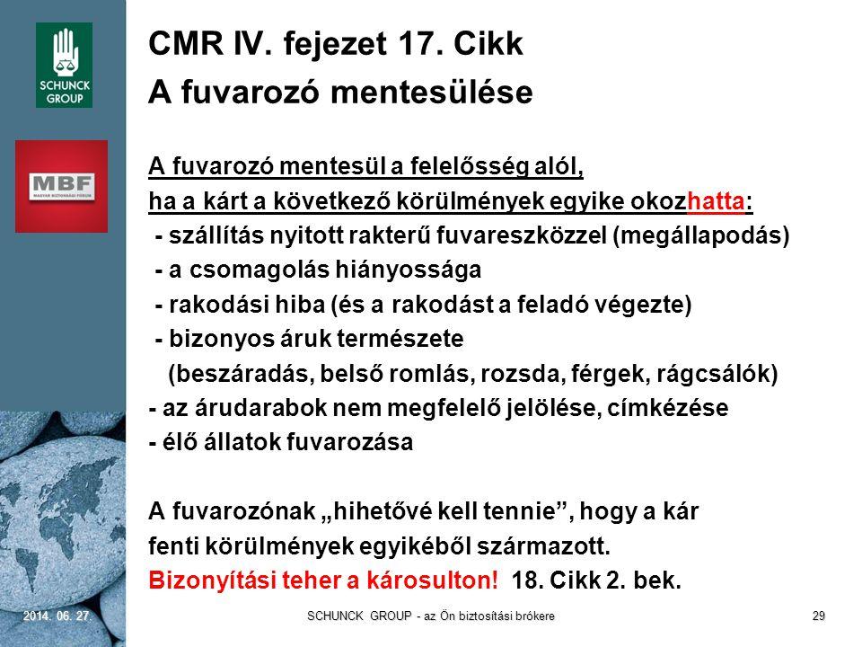 CMR IV. fejezet 17. Cikk A fuvarozó mentesülése A fuvarozó mentesül a felelősség alól, ha a kárt a következő körülmények egyike okozhatta: - szállítás