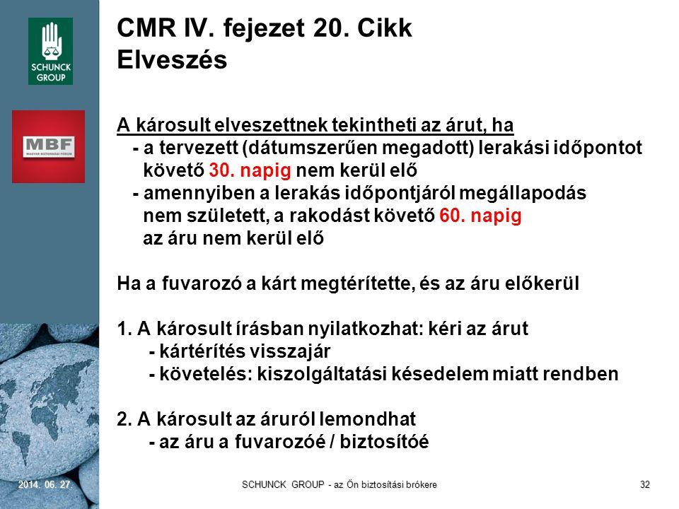 CMR IV. fejezet 20. Cikk Elveszés A károsult elveszettnek tekintheti az árut, ha - a tervezett (dátumszerűen megadott) lerakási időpontot követő 30. n