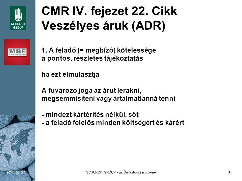 CMR IV. fejezet 22. Cikk Veszélyes áruk (ADR) 1. A feladó (= megbízó) kötelessége a pontos, részletes tájékoztatás ha ezt elmulasztja A fuvarozó joga