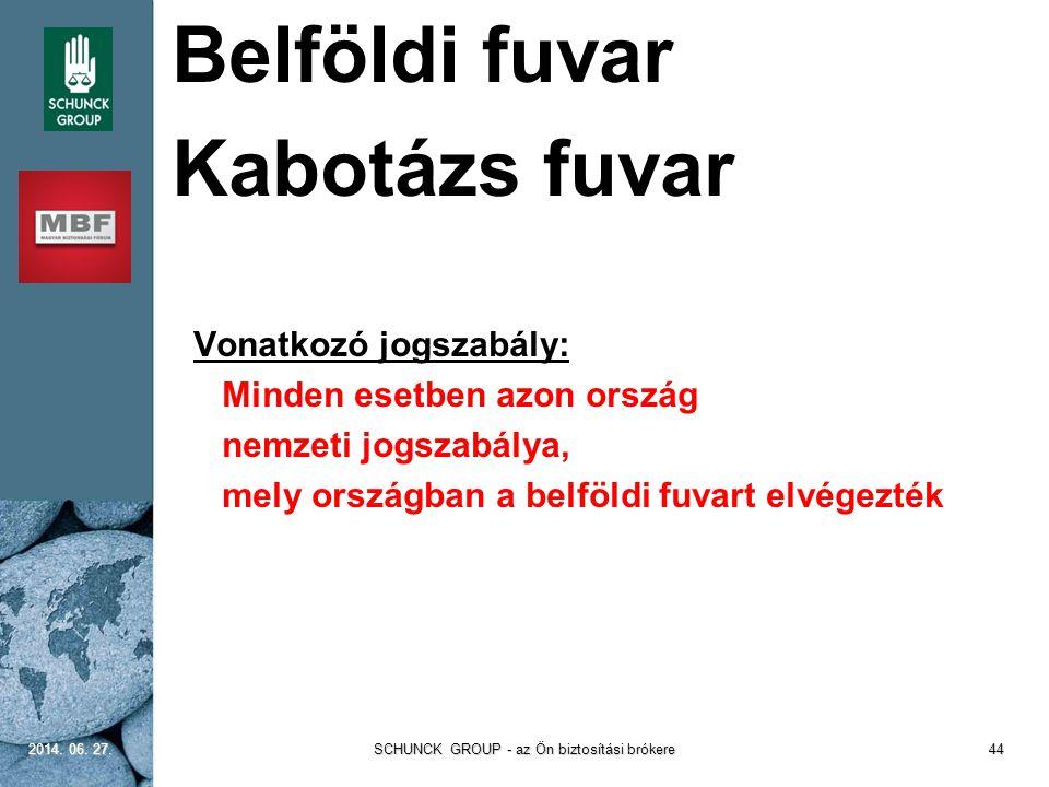 Belföldi fuvar Kabotázs fuvar  Vonatkozó jogszabály:  Minden esetben azon ország  nemzeti jogszabálya,  mely országban a belföldi fuvart elvégezté