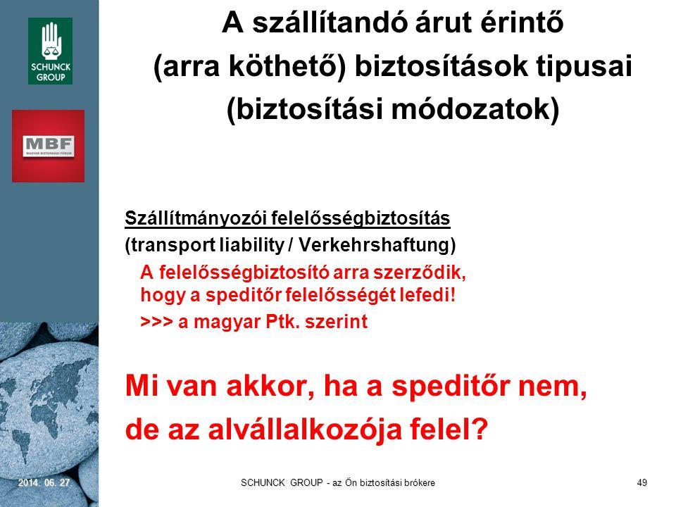  A szállítandó árut érintő  (arra köthető) biztosítások tipusai  (biztosítási módozatok)  Szállítmányozói felelősségbiztosítás  (transport liabil