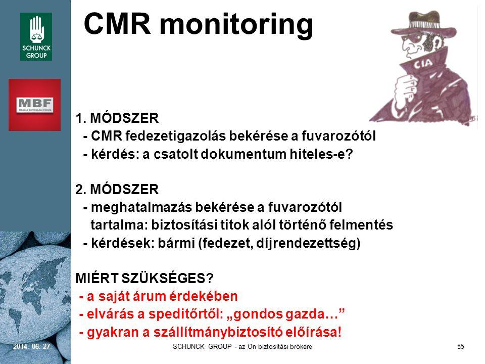 CMR monitoring 1. MÓDSZER - CMR fedezetigazolás bekérése a fuvarozótól - kérdés: a csatolt dokumentum hiteles-e? 2. MÓDSZER - meghatalmazás bekérése a