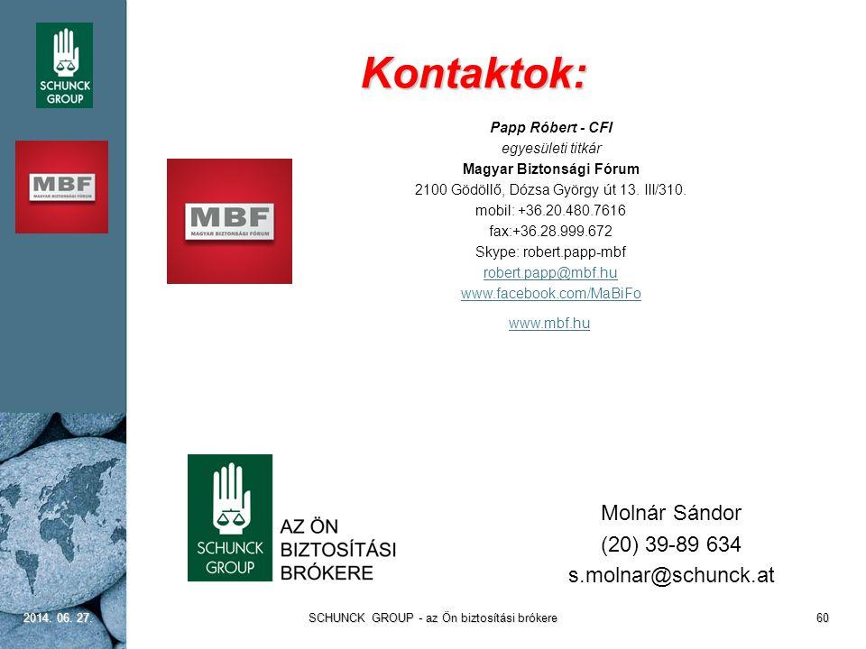 Kontaktok: 2014. 06. 27.2014. 06. 27.2014. 06. 27.SCHUNCK GROUP - az Ön biztosítási brókere60 Molnár Sándor (20) 39-89 634 s.molnar@schunck.at Papp Ró