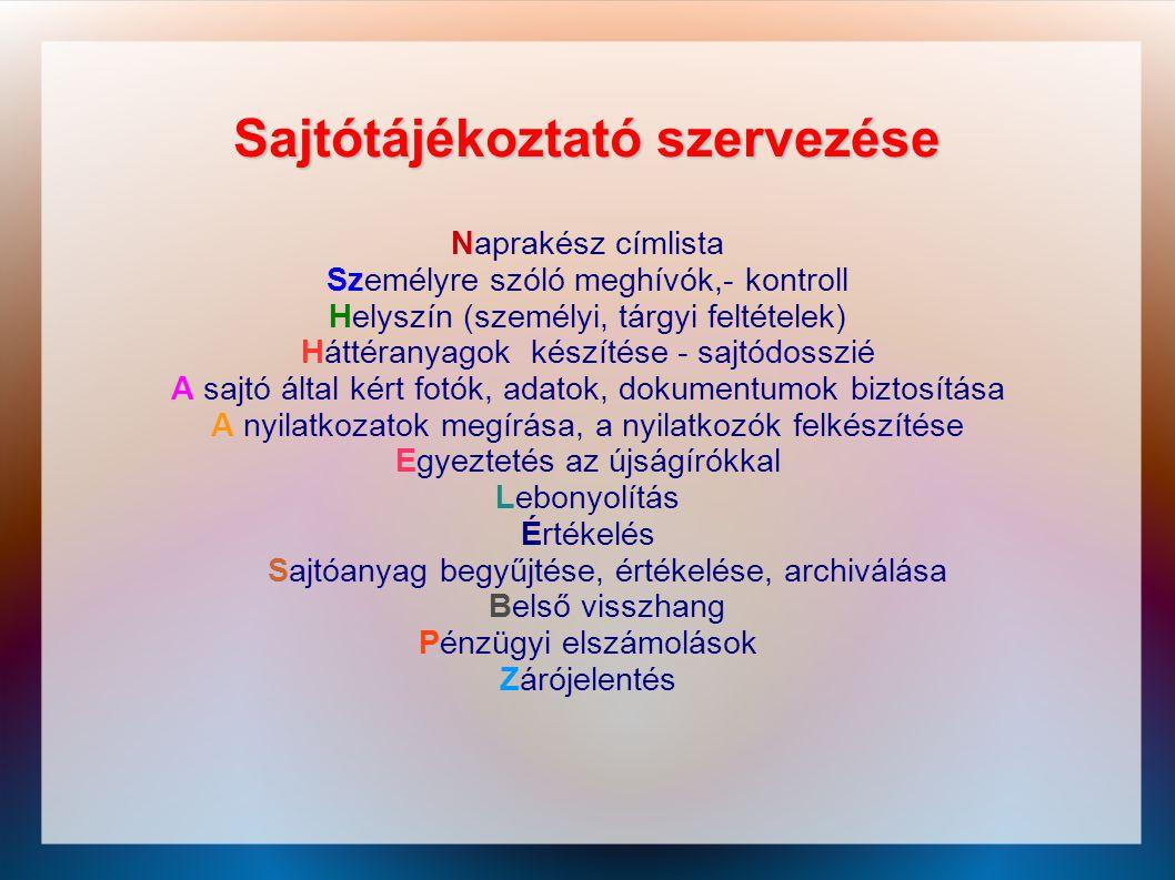 Sajtótájékoztató szervezése Naprakész címlista Személyre szóló meghívók,- kontroll Helyszín (személyi, tárgyi feltételek) Háttéranyagok készítése - sa