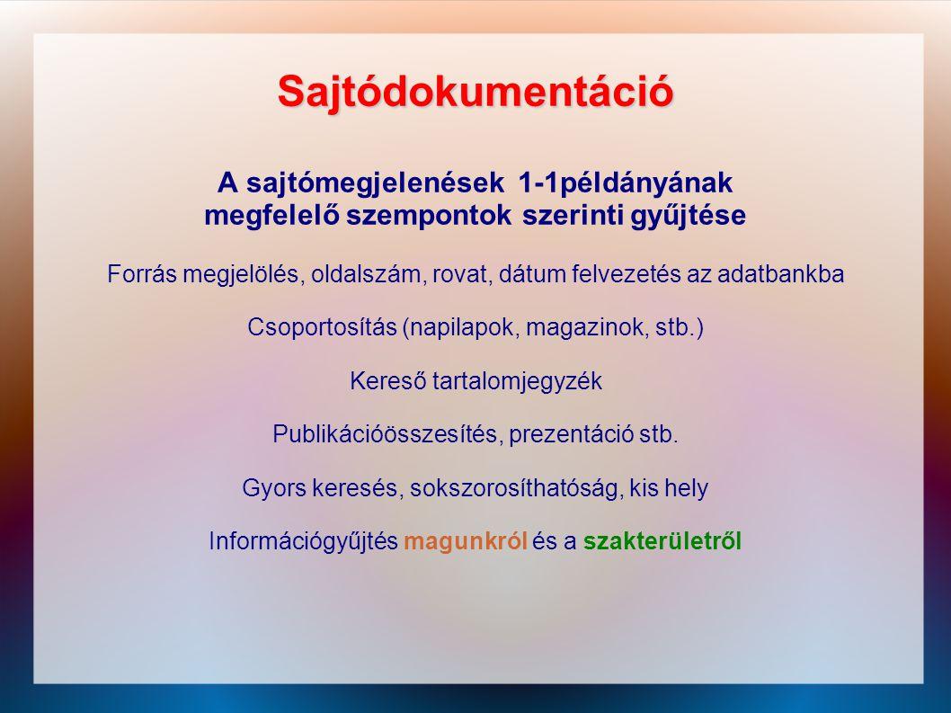 Sajtódokumentáció A sajtómegjelenések 1-1példányának megfelelő szempontok szerinti gyűjtése Forrás megjelölés, oldalszám, rovat, dátum felvezetés az a
