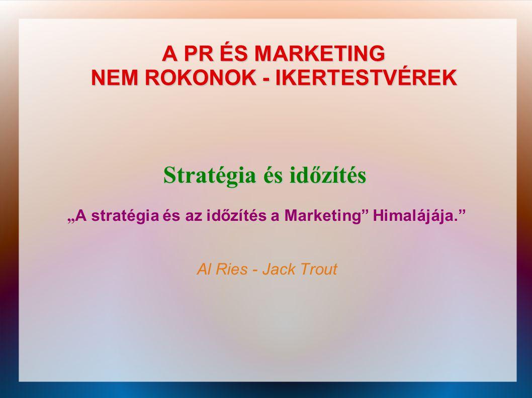 """A PR ÉS MARKETING NEM ROKONOK - IKERTESTVÉREK Stratégia és időzítés """" A stratégia és az időzítés a Marketing"""" Himalájája."""" Al Ries - Jack Trout"""
