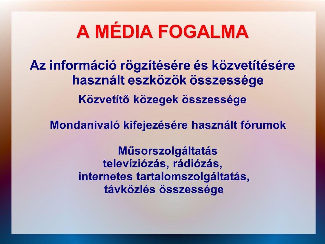 A MÉDIA FOGALMA Az információ rögzítésére és közvetítésére használt eszközök összessége Közvetítő közegek összessége Mondanivaló kifejezésére használt
