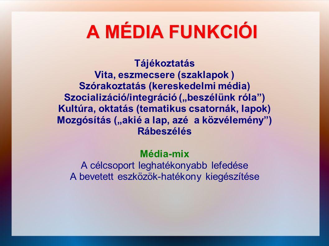 """A MÉDIA FUNKCIÓI Tájékoztatás Vita, eszmecsere (szaklapok ) Szórakoztatás (kereskedelmi média) Szocializáció/integráció (""""beszélünk róla"""") Kultúra, ok"""