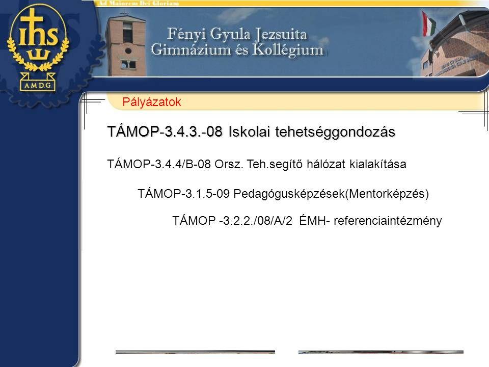 TÁMOP-3.4.3.-08 Iskolai tehetséggondozás TÁMOP-3.4.4/B-08 Orsz. Teh.segítő hálózat kialakítása TÁMOP-3.1.5-09 Pedagógusképzések(Mentorképzés) TÁMOP -3