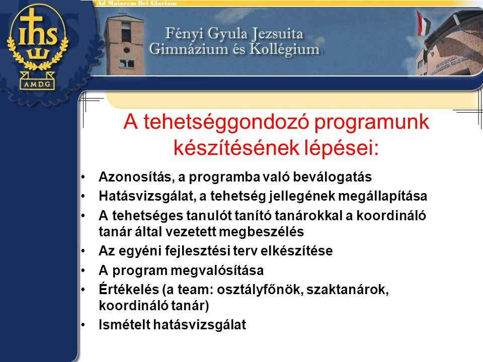 A tehetséggondozó programunk készítésének lépései: •Azonosítás, a programba való beválogatás •Hatásvizsgálat, a tehetség jellegének megállapítása •A t