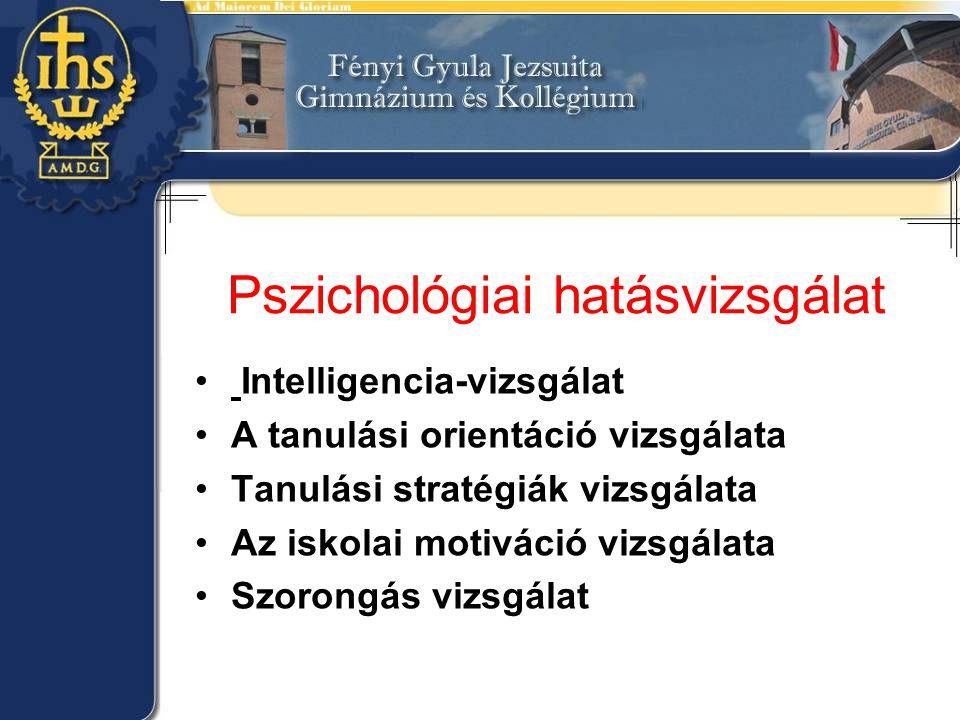 Pszichológiai hatásvizsgálat • Intelligencia-vizsgálat •A tanulási orientáció vizsgálata •Tanulási stratégiák vizsgálata •Az iskolai motiváció vizsgál