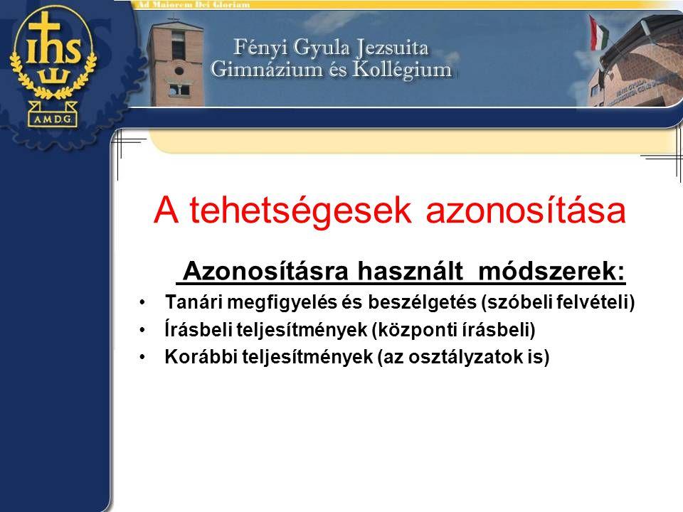 A tehetségesek azonosítása Azonosításra használt módszerek: •Tanári megfigyelés és beszélgetés (szóbeli felvételi) •Írásbeli teljesítmények (központi