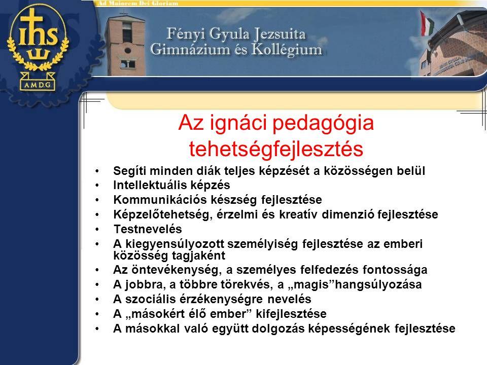 Az ignáci pedagógia tehetségfejlesztés •Segíti minden diák teljes képzését a közösségen belül •Intellektuális képzés •Kommunikációs készség fejlesztés