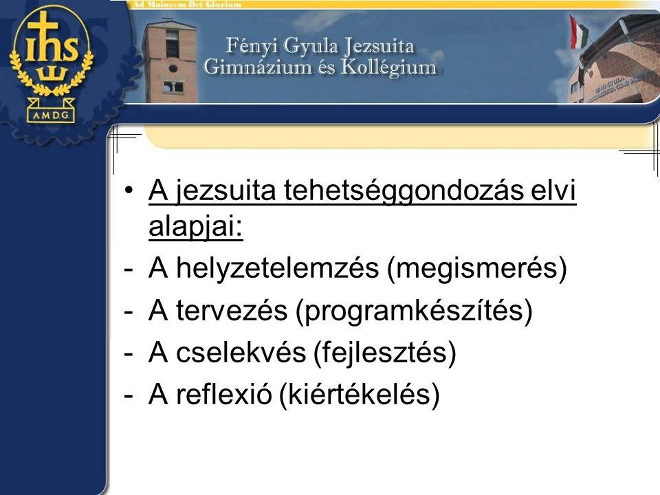•A jezsuita tehetséggondozás elvi alapjai: -A helyzetelemzés (megismerés) -A tervezés (programkészítés) -A cselekvés (fejlesztés) -A reflexió (kiérték