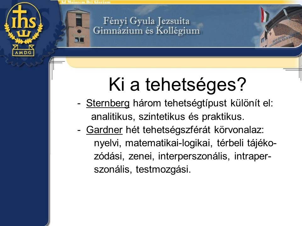 Ki a tehetséges? - Sternberg három tehetségtípust különít el: analitikus, szintetikus és praktikus. - Gardner hét tehetségszférát körvonalaz: nyelvi,