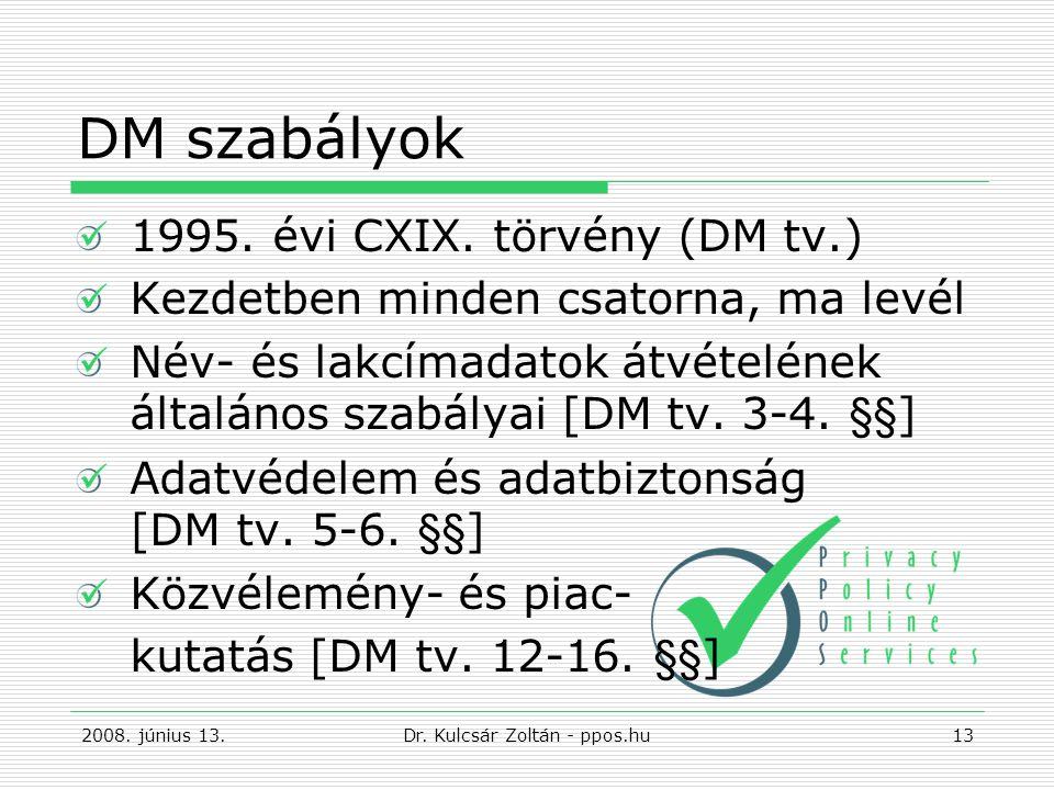 DM szabályok 1995.évi CXIX.