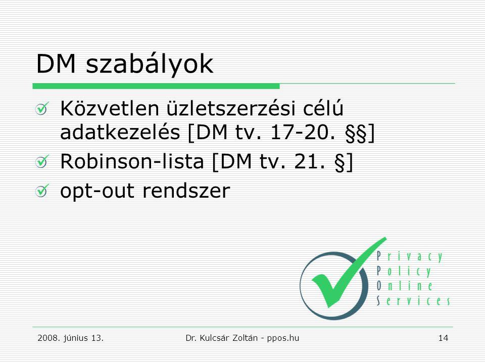 DM szabályok Közvetlen üzletszerzési célú adatkezelés [DM tv.