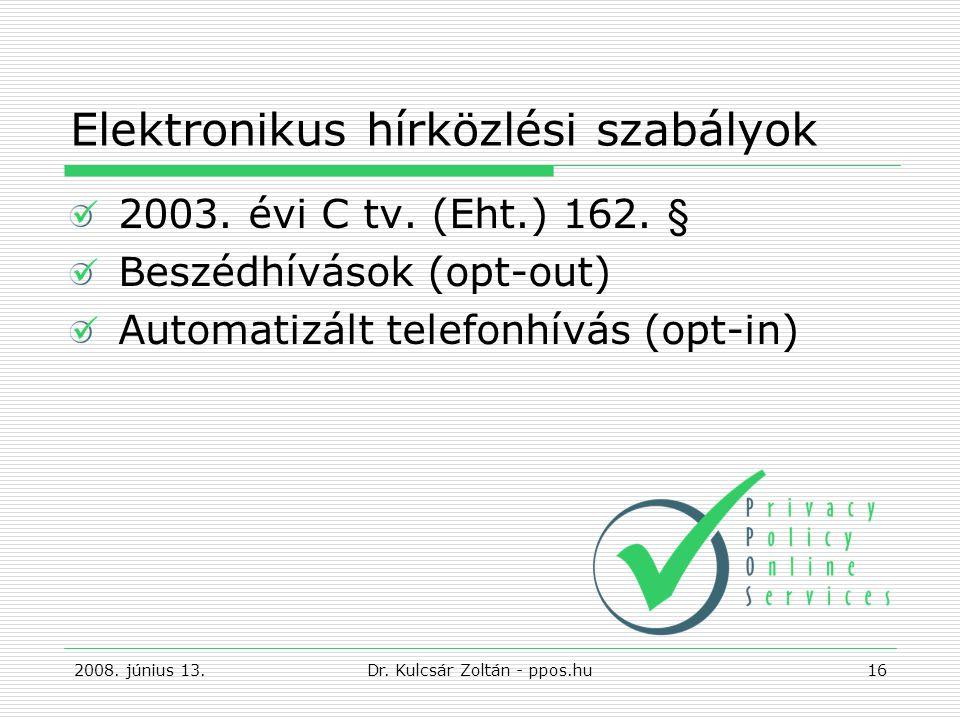 Elektronikus hírközlési szabályok 2003.évi C tv. (Eht.) 162.