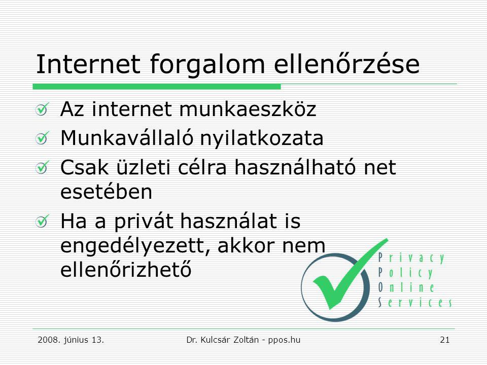 Internet forgalom ellenőrzése Az internet munkaeszköz Munkavállaló nyilatkozata Csak üzleti célra használható net esetében Ha a privát használat is engedélyezett, akkor nem ellenőrizhető 2008.