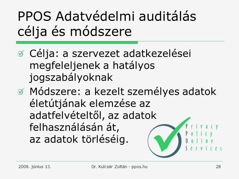 PPOS Adatvédelmi auditálás célja és módszere Célja: a szervezet adatkezelései megfeleljenek a hatályos jogszabályoknak Módszere: a kezelt személyes adatok életútjának elemzése az adatfelvételtől, az adatok felhasználásán át, az adatok törléséig.