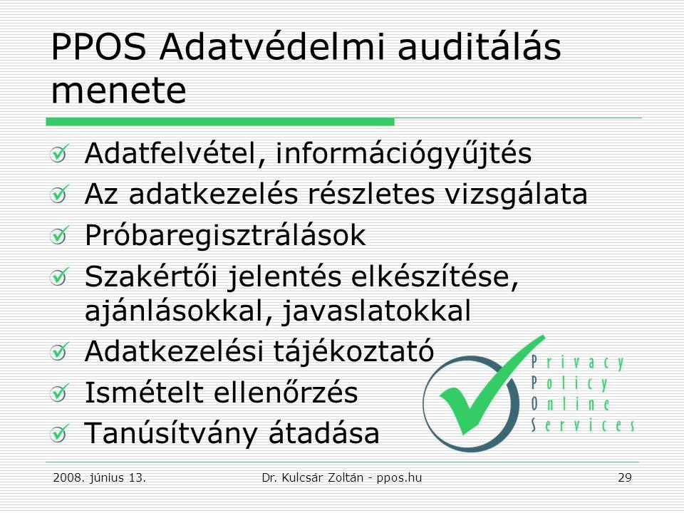 PPOS Adatvédelmi auditálás menete Adatfelvétel, információgyűjtés Az adatkezelés részletes vizsgálata Próbaregisztrálások Szakértői jelentés elkészítése, ajánlásokkal, javaslatokkal Adatkezelési tájékoztató Ismételt ellenőrzés Tanúsítvány átadása 2008.
