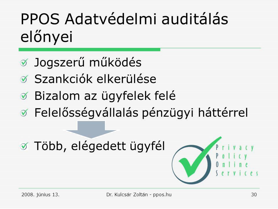 PPOS Adatvédelmi auditálás előnyei Jogszerű működés Szankciók elkerülése Bizalom az ügyfelek felé Felelősségvállalás pénzügyi háttérrel Több, elégedett ügyfél 2008.