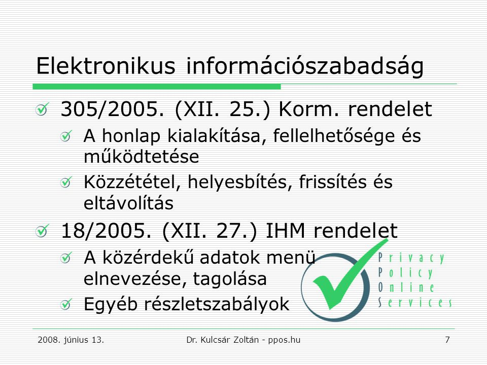 Alapvető informatikai biztonsági kérdések Biztonsági szabályzat Szervezetbiztonság Vagyonbiztonság Személyzet biztonsága Fizikai és környezeti biztonság Hozzáférés-ellenőrzés Üzemeltetés menedzselése 2008.