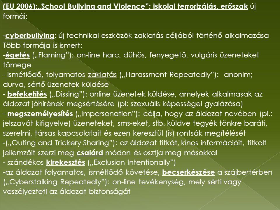 """(EU 2006):""""School Bullying and Violence : iskolai terrorizálás, erőszak új formái: - cyberbullying : új technikai eszközök zaklatás céljából történő alkalmazása Több formája is ismert: - égetés (""""Flaming ): on-line harc, dühös, fenyegető, vulgáris üzeneteket tömege - ismétlődő, folyamatos zaklatás (""""Harassment Repeatedly ): anonim; durva, sértő üzenetek küldése - befeketítés (""""Dissing ): online üzenetek küldése, amelyek alkalmasak az áldozat jóhírének megsértésére (pl: szexuális képességei gyalázása) - megszemélyesítés (""""Impersonation ): célja, hogy az áldozat nevében (pl.: jelszavát kifigyelve) üzeneteket, sms-eket, stb."""