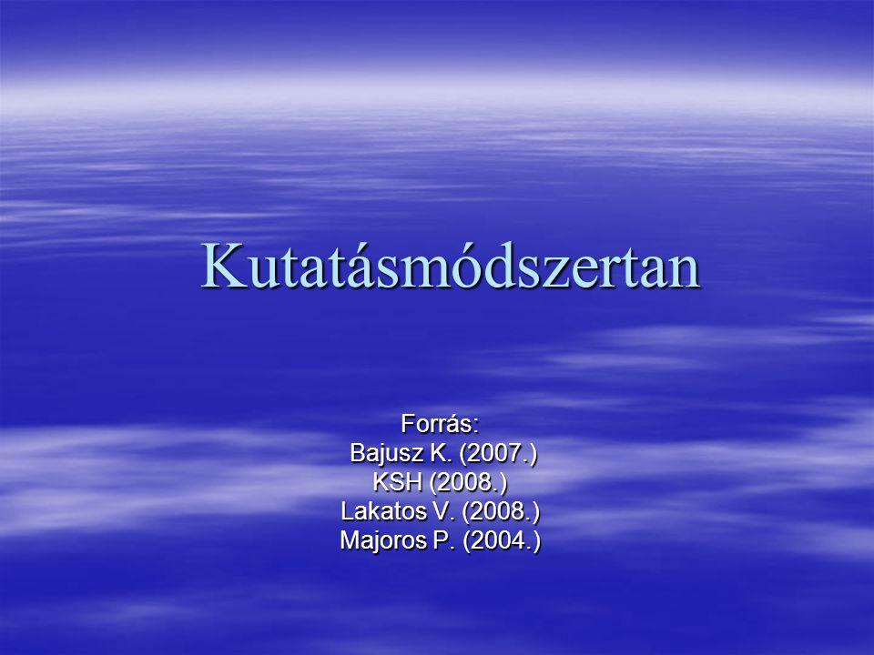Kutatásmódszertan Forrás: Bajusz K. (2007.) Bajusz K. (2007.) KSH (2008.) Lakatos V. (2008.) Majoros P. (2004.)