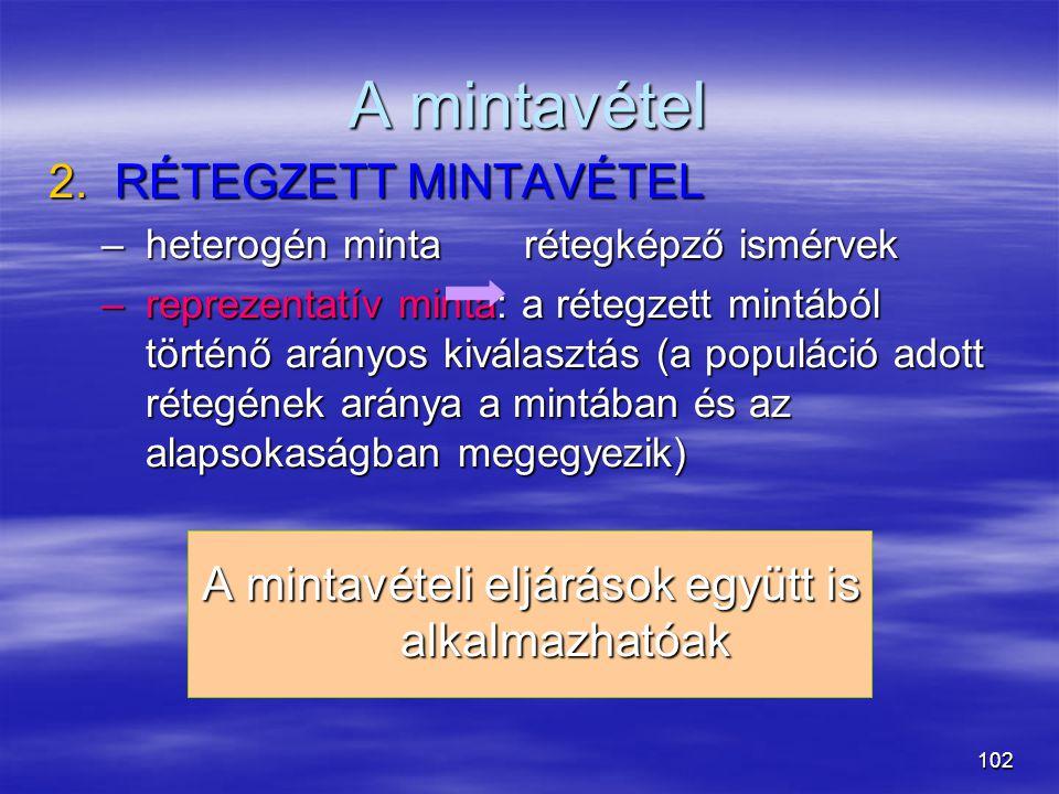 102 A mintavétel 2.RÉTEGZETT MINTAVÉTEL –heterogén minta rétegképző ismérvek –reprezentatív minta: a rétegzett mintából történő arányos kiválasztás (a