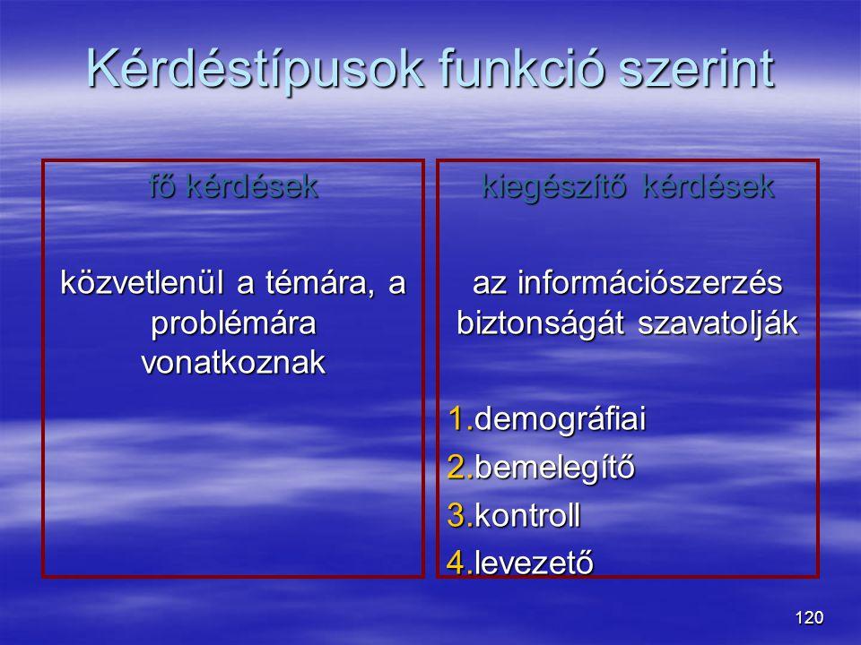 120 Kérdéstípusok funkció szerint fő kérdések közvetlenül a témára, a problémára vonatkoznak kiegészítő kérdések az információszerzés biztonságát szav