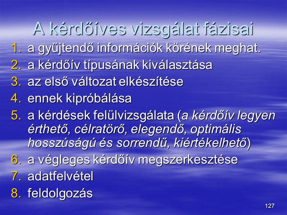 127 A kérdőíves vizsgálat fázisai 1.a gyűjtendő információk körének meghat. 2.a kérdőív típusának kiválasztása 3.az első változat elkészítése 4.ennek