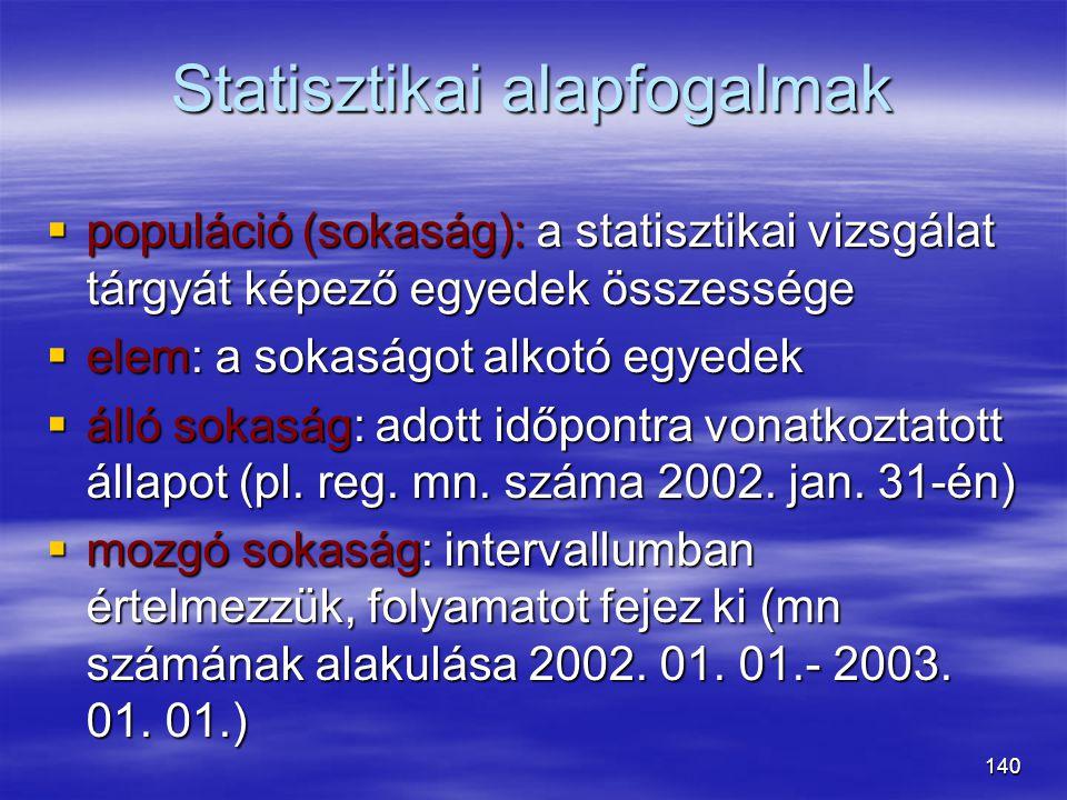 140 Statisztikai alapfogalmak  populáció (sokaság): a statisztikai vizsgálat tárgyát képező egyedek összessége  elem: a sokaságot alkotó egyedek  á